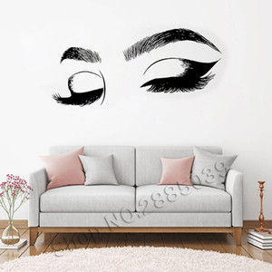 Wholesale Closes Eyes Wall Decals Eyelashes Wall Stickers Make Up Girl Eyes Eyebrows Vinyl Wall Decor Beauty Salon Decoration New LC555 T191004