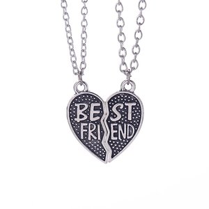 Wholesale BFF Best Friend Broken Heart Necklaces Ancient Silver Heart pendants Chains for Women Best Bitch Fashion jewelry DROP SHIP