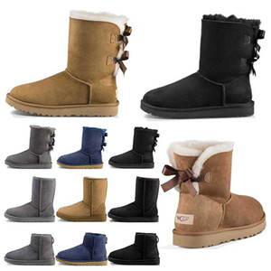Wholesale Top quality designer Australia women classic snow boots ankle short bow fur boot for winter black Chestnut fashion women shoes size