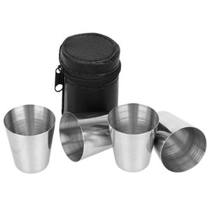 Wholesale 4Pcs Set Polished ML Mini Stainless Steel Shot Glass Cup OZ Wine Drinking Glasses With Leather Bag Zipper Cover Polished Barware