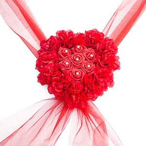 Wholesale Romantic Wedding Car Flower Easy Install Heart Shape Party Decoration Wreath Centerpiece Artificial Silk Home Fake Rose