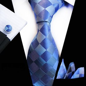 Wholesale Mens Tie Set Jacquard Silk Ties Pocket Square Cufflinks Fashion Floral Ties for Men cm Corbatas Sky Blue Tie