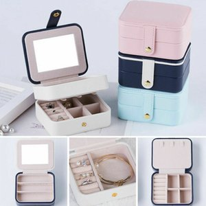 Women Ladies 3 Layers Jewelry Storage Bag Hasp Leather With Mirror Solid Travel Home Desk Ring Earing Necklace Cosmetic Case