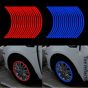 Wholesale blue line stickers for sale - Group buy New creative inch inch car color tire rim car reflective stickers car tire ring reflective stickers cool inner circle personality refl