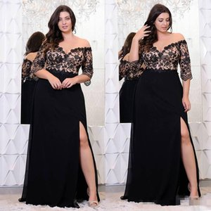 Wholesale Black Lace Plus Size Prom Dresses With Half Sleeves Off The Shoulder V-Neck Split Side Evening Gowns Chiffon Formal Dress robes de soiree