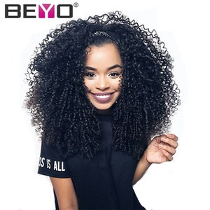 Wholesale Beyo Hair Peruvian Kinky Curly Lace Front Human Hair Wigs For Black Women Pre Plucked With Baby Hair Inch Remy