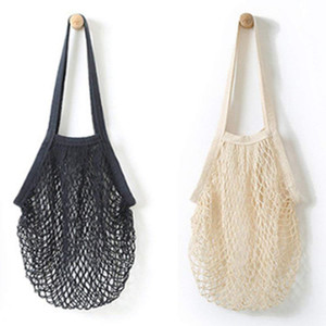 Wholesale 2Pcs Portable Reusable Mesh Cotton Net String Bag Organizer Shopping Tote Handbag Fruit Storage Shopper NEW black beige
