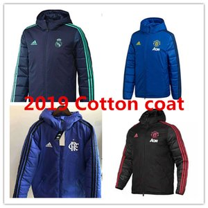 Wholesale 19 Real Madrid Cotton coat Down Jacket man united ronaldo hoodie tracksuits soccer outerwear clothes Flamengo Parka football winter coat