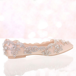 Champagne Satin Bridal Wedding Dress Shoes Flat Heel Pointed Toe Formal Dress ShoesLady Party Prom Dancing Shoes Rhinestone