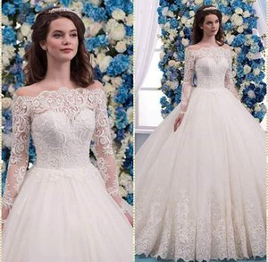 Wholesale New beach wedding dresses sexy lace applique long sleeve jewel lace skirt bohemian cheap wedding dress bridal gowns