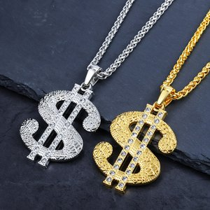 Wholesale Hip hop Chao brand large US dollar Pendant Necklace thick gold plating quality assurance HIPHOP jewelry