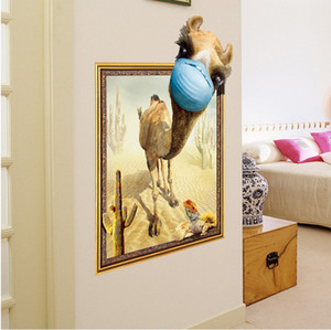 Wholesale New Simulated D Photo Frame Desert Camel Living Room Background Decoration Sticker for Children s Room Decoration Wall