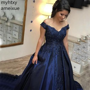 Plus Size Modest Off The Shoulder Prom Dresses Appliques Beaded Navy Blue Satin Evening Party Robe De Bal Longue Formal Gown