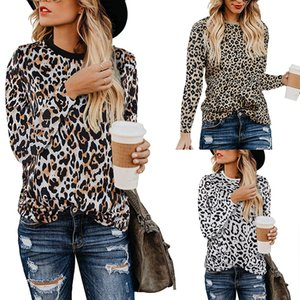 Wholesale Sexy Women Tops Long Sleeve Shirt Leopard Print T shirt Ladies O neck Chic Printed Tops Tees Shirts Female Clothing LJJA2826