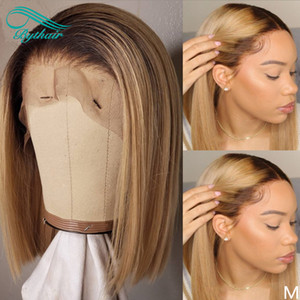 Wholesale ladies hairs resale online - Short Bob Straight Lace Front Wigs For Black Women Ombre Color Pre Plucked Natural Hairline Human Hair Full Lace Wig