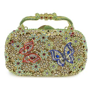 Wholesale Handmade Crystal Evening Clutch Red Blue Butterfly Women s Bags Party Purse Fashion Hollow Out Ladies Diamond Dinner Handbag