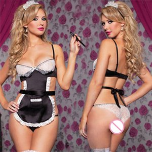 Maid Sexy Suit Sexy Cosplay Maid Costume Lingerie Lace Hot Erotic Maid Outfit Halloween Costumes for Women Black on Sale