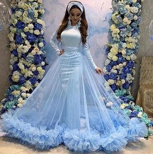 2019 Evening Dresses Abaya Dubai arabic Prom Dresses Long Sleeves High Neck with detachable tulle train ruched Evening Wear Party Dresses on Sale