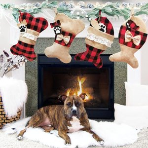 Wholesale indoor pet supplies resale online - Plaid Christmas Stockings Pet Fish Socks Decoration Gift Socks Christmas Pet Sock Gift Bag Christmas Tree Decor Party Supplies DHD535