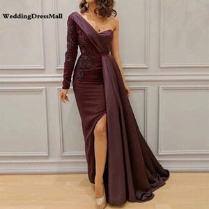 Abendkleider Saudi Arabic Women One Shoulder Purple Evening Dresses 2019 Avondjurken Custom Made Prom Party Gowns on Sale