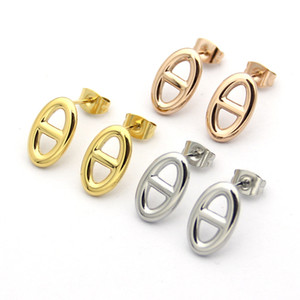 Wholesale Titanium steel Hot sale Fashion brand H letter earrings for woman jewelry k Gold plated silver rose for lover gift