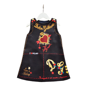 2020 Brand Princess Dresses for Girls Letter Print Round Neck Kids Dress Children Valentine's Day Love Heart Printed  clothes