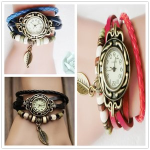 Wholesale Multicolor Women Men PU Leather Vintage Quartz Dress Watch Bracelet Wristwatches leaf Pedant Braid Band Watch Gift Jewelry