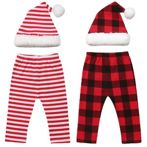 Wholesale XMAS Newborn Baby Girls Boys Santa Hat Plaid Striped Pants Outfits Set Photo Props Costume Kid Pants