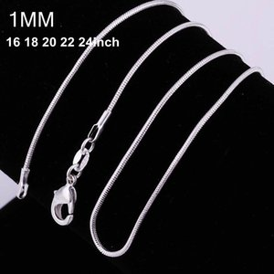 100pcs 925 silver P smooth snake chains Necklace 1MM snake chain mixed size 16 18 20 22 24 inch hot sale