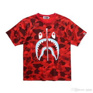 Wholesale 2019 Summer New Men Women Cotton Fake Zipper Tooth Print Camo Short sleeved T shirts Lover Camo Short Sleeved Casual T shirts
