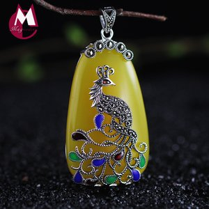Wholesale Jade Sterling Silver Pendant Ethnic Jewelry Bohemian Colorful Women Beads Stone Peacock Pendant Necklace SP14