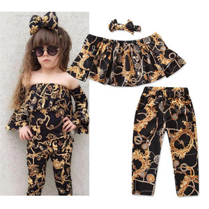 Wholesale 3pcs Toddler Baby Girl Clothes Set Stitching Horn Long sleeved Bell Sleeve Pants Outfits Floral Printing Suit With Headband