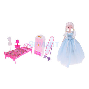 Wholesale 1 Modern Girl Doll Little Princess amp Mini Furniture Playsets Bedroom Kits For inch Action Dolls and Dolls House Accessory