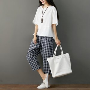 New large size cotton and linen set round neck loose bat shirt T-shirt + plaid seven points casual wide leg pants two-piece women on Sale