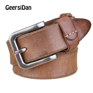 Wholesale 2018 Luxury belt men s belt pin buckle man s genuine leather strap for jean high quality wide brown color fashion free shippping