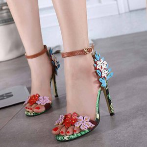 Wholesale Hot Sale Women s Stylish Floral Covered Heels Open Toe Buckle Dress Sandals Stiletto High Heels Shoes with Ankle Straps