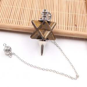 Wholesale silver jewelr for sale - Group buy 10 Merkaba Symbol Tiger Eye Stone Pendulum for Dowsing Pendant Black Agate Silver Plated Link Chain Jewelr