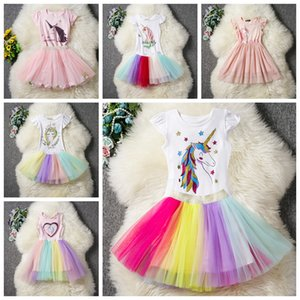 9f863bcda515 cartoon unicorn baby girls dress suit Cotton tops T-shirt with bow+tutus  skirts 2pcs lot children summer outfits kids princess suit AAA1814