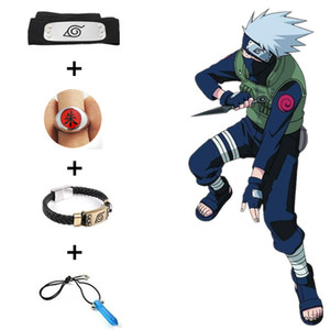 Hot Japan Anime Naruto Unisex Cosplay Hokage Plastic Props Toys Accessories Gift Boxed Headband Necklace Bracelet