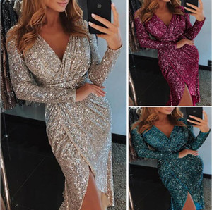 paillettes robes de soirée genou long achat en gros de-news_sitemap_homepetite robe noire longueur au genou robes de cocktail col en V manches longues court modeste or rose paillettes arabe Prom Party robes de soirée pas cher