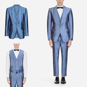 Wholesale Satin Fabric Blue Men s Suits Three Pieces Coat Pant Vest Wedding Bridegroom Suits With Shawl Lapel One Button Business Official Wear