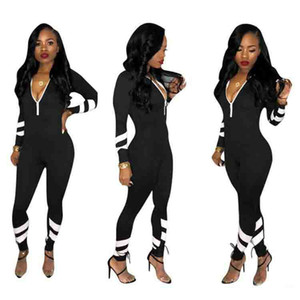 Wholesale Autumn Women Overalls Jumpsuits Full Sleeve Zipper V Neck Female High Waist Outfits casual sexy fashion Bandage rompers Black color