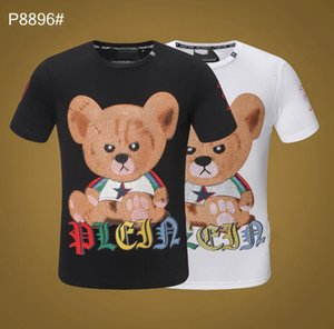 Wholesale Bear P T shirts Men Hip Hop Fashion Tops Summer Designer Tee Crew Neck Crystal Stick Tee Tops Hommi