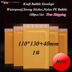 Wholesale-(100pcs lot) 110x130+40mm Kraft Bubble Envelopes, Yellow Paper Padded Envelop Mailer With Strong Sticker and Thick Bubble 1#