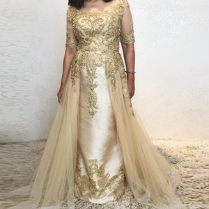 Wholesale Elegant Empire Detachable Train Evening Dresses Jewel Neck Half Sleeve Appliques Beaded Formal Wear Satin Overskirt Celebrity Gowns