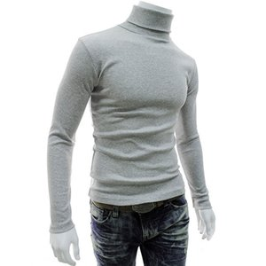 Casual Men Long Sleeve Knitwear Autumn Winter Turtle Neck Slim Fit Basic Pullover Tops SSA-19ING on Sale