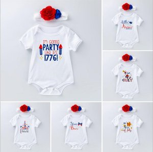 Wholesale Infant Baby Designer Clothes Boy girls July th Rompers Handbands INS Baby Clothing Infant Star Striped Romper Printed Cotton Jumpsuit LT356
