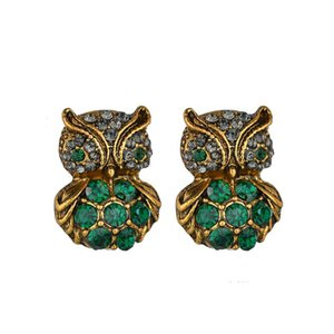 2019 New Designer Earrings Rhinestone Cute Owl Stud Earrings Ears Hoop Pendant Character for Girl Women Fashion Jewelry Accessories