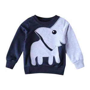 Wholesale Kids Boys Sweatshirt O Neck Tops Pullover Clothes Toddler Baby Boys Cartoon Elephant Sweatshirt Pullover T shirt Casual Tops
