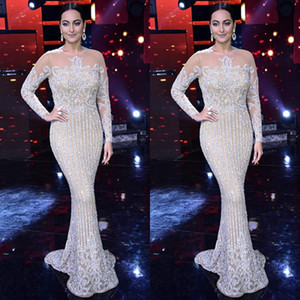 Luxury Long Sleeve Sequined Mermaid Prom Dresses Sexy Sheer Jewel Neck Evening Wear Beads Celebrity Prom Gowns on Sale